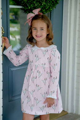Pink Clara Long Sleeve Dress - Posh Tots Children's Boutique