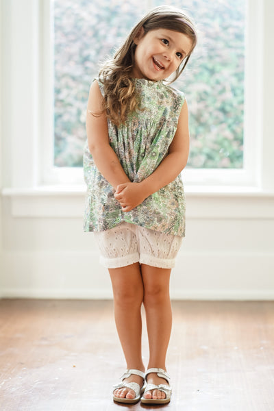 Evie Floral Ruffle Banded Short Set - Posh Tots Children's Boutique