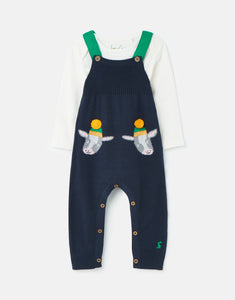 Parson Knitted Dungaree Set - Navy Cows - Posh Tots Children's Boutique