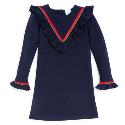 Noelle Dress - Navy Pique - Posh Tots Children's Boutique