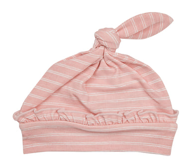 Pink Stripe Hippo Knotted Hat - Posh Tots Children's Boutique
