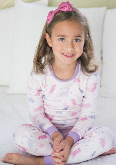 Girl's Dino 2-pc Jammie Set - Posh Tots Children's Boutique