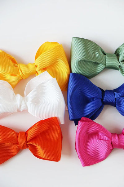 Grosgrain & Satin Hair Clip Bow - Posh Tots Children's Boutique