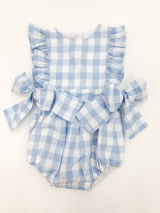 Castelo Romper, Blue/White - Posh Tots Children's Boutique