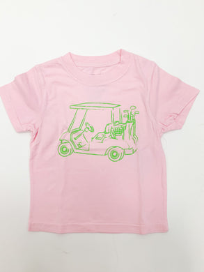 T-Shirt, S/S Girl Golf Cart - Posh Tots Children's Boutique