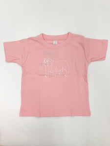 Bulldog Short Sleeve Tee, Pink - Posh Tots Children's Boutique