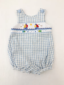Smocked Sailboat & Fishes Sunsuit - Posh Tots Children's Boutique