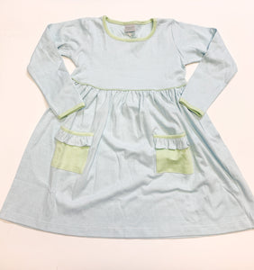Popover Dress - Aqua Stripe w/Green Trim - Posh Tots Children's Boutique