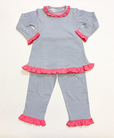 Navy Stripe Ruffle Pant Set - Posh Tots Children's Boutique