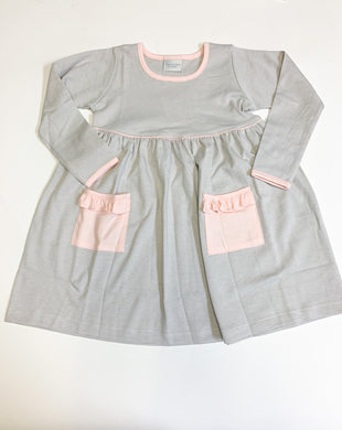 Popover Dress - Gray Stripe w/Pink Trim