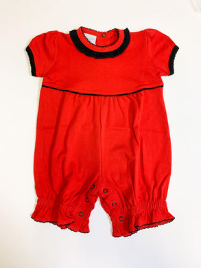 Red Romper w/Black Ruffle