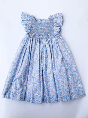 Blue Floral Flutter Sleeve Dress