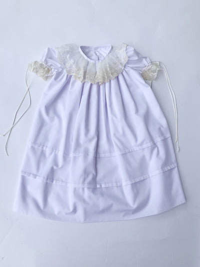 Heirloom White Dress with Lace Collar - Posh Tots Children's Boutique