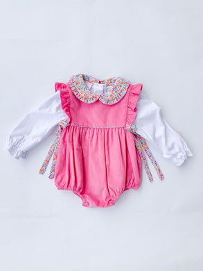 Bubblegum Pink Corduroy Bubble - Posh Tots Children's Boutique