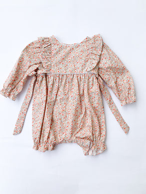 Orange Liberty Floral Bubble - Posh Tots Children's Boutique