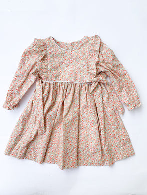 Orange Liberty Floral Dress - Posh Tots Children's Boutique