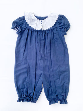 Cozy Cord Ruffle Longall, Navy - Posh Tots Children's Boutique