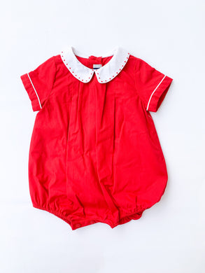 Vintage Holiday Boy Bubble, Red - Posh Tots Children's Boutique