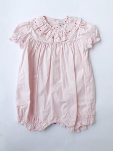Vintage Holiday Ruffle Collar Bubble, Pink - Posh Tots Children's Boutique