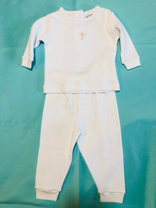 White 2 pc Pants set w/Cross - Posh Tots Children's Boutique
