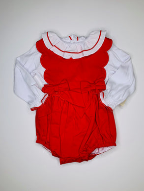 Red Scallop 2 pc Overall & Blouse - Posh Tots Children's Boutique