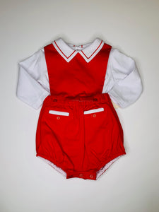2 pc Red Overall & Blouse - Posh Tots Children's Boutique