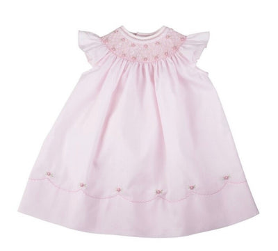 Pearl Flower Fly Sleeve Bishop Dress, Pink - Posh Tots Children's Boutique