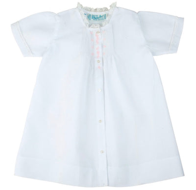 White Embroidered Folded Daygown - Posh Tots Children's Boutique