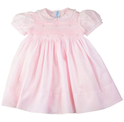 Lacy Smocked Dress, Pink - Posh Tots Children's Boutique