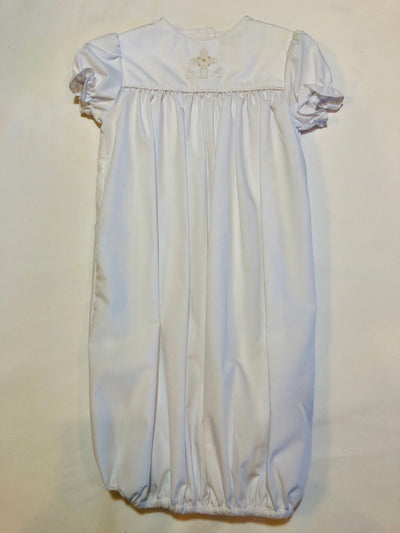 NB Ivory Cross Sac Gown - Posh Tots Children's Boutique
