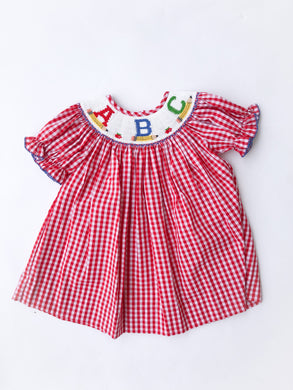 ABC Smocked Red Check Dress - Posh Tots Children's Boutique
