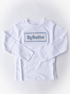 Big Brother Smocked Knit Shirt, White - Posh Tots Children's Boutique