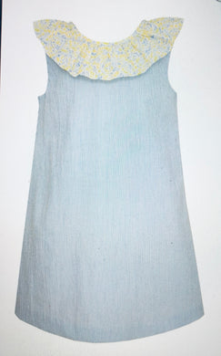 7 Blue Stripe Dress w/Floral Ruffle - Posh Tots Children's Boutique