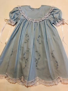 Blue Heirloom Embroidered Dress - Posh Tots Children's Boutique