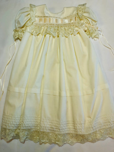 Heirloom Square Collar Ivory Dress - Posh Tots Children's Boutique