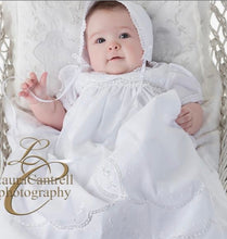 Load image into Gallery viewer, Scalloped Lace Christening Gown Set - Posh Tots Children's Boutique