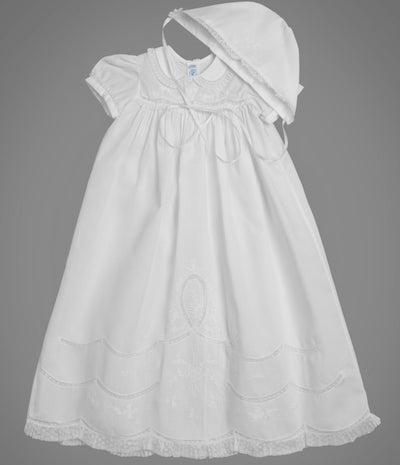 Scalloped Lace Christening Gown Set - Posh Tots Children's Boutique