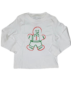 T-Shirt, Long Sleeve Gingerbread Boy - Posh Tots Children's Boutique