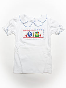 School Day Smocked White Knit Top - Posh Tots Children's Boutique