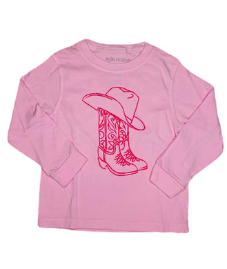 T-Shirt, Long Sleeve Cowboy Boots - Pink - Posh Tots Children's Boutique