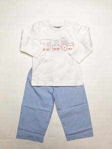 Train Boys Pant Set - Posh Tots Children's Boutique