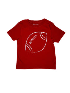 T-Shirt, Short Sleeve Football - Crimson - Posh Tots Children's Boutique
