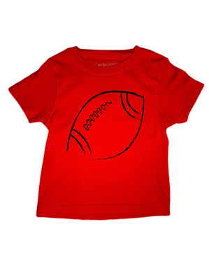 T-Shirt, Short Sleeve Football - Red - Posh Tots Children's Boutique