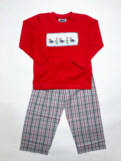 Smocked Duck Pant Set - Posh Tots Children's Boutique