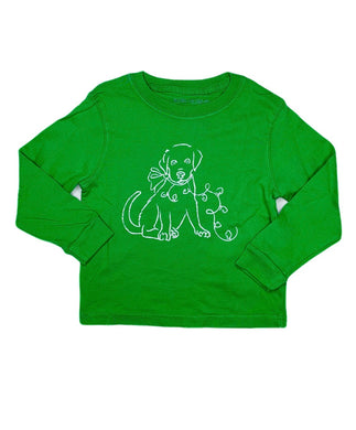 T-Shirt, Long Sleeve Christmas Puppy - Posh Tots Children's Boutique