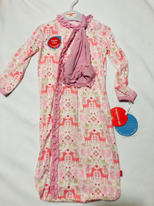 NB-3mos Flora & Fawna Magnetic Gown Set - Posh Tots Children's Boutique