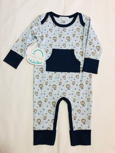9-12m Kangaroo Romper - Lion on Blue - Posh Tots Children's Boutique