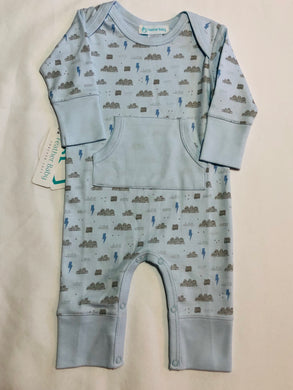 Kangaroo Romper - Stormy Sky on Blue - Posh Tots Children's Boutique