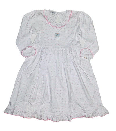 Vintage Bow Embroidered Printed Dress - Posh Tots Children's Boutique