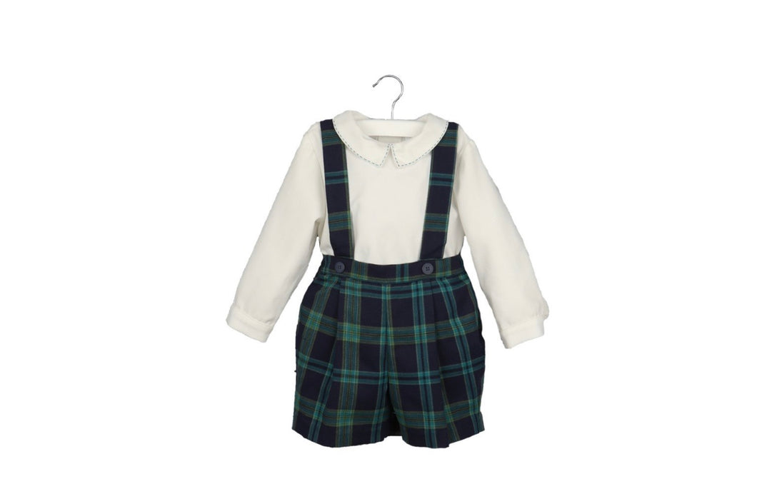 2 pc Navy Plaid Short Set - Posh Tots Children's Boutique
